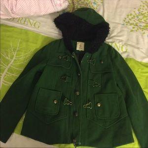 Jackets & Blazers - A02 Green Wool Hooded Jacket